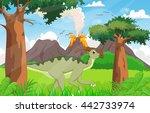 cute parasaurolophus cartoon in ... | Shutterstock .eps vector #442733974