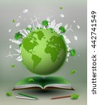 concept of eco green world on... | Shutterstock .eps vector #442741549