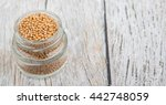 yellow mustard seed in mason... | Shutterstock . vector #442748059