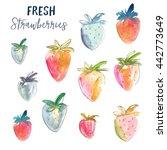 watercolor strawberries. cute... | Shutterstock . vector #442773649