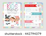 cute colorful kids meal menu... | Shutterstock .eps vector #442794379