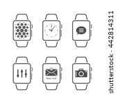 set of smart watch icons on... | Shutterstock .eps vector #442814311