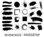 set of hand drawn brushes and... | Shutterstock .eps vector #442818769