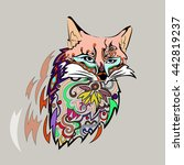 fox in the style of a bright... | Shutterstock .eps vector #442819237