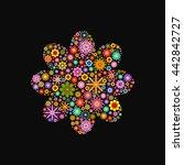 flower with round petals... | Shutterstock .eps vector #442842727