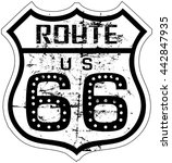 grungy retro route sixty six... | Shutterstock .eps vector #442847935