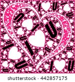 i love u words with hearts... | Shutterstock .eps vector #442857175