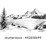 Mountain Lake Graphic Art Blac...