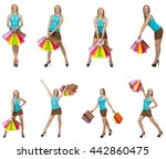woman with shopping bags... | Shutterstock . vector #442860475