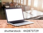 laptop with blank screen on... | Shutterstock . vector #442873729