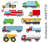 set of flat design trucks icons.... | Shutterstock .eps vector #442875715