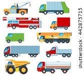 set of flat design trucks icons.... | Shutterstock .eps vector #442875715