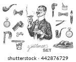 victorian era set  gentleman's... | Shutterstock .eps vector #442876729