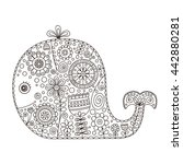 doodle whale. hand drawn vector ...   Shutterstock .eps vector #442880281