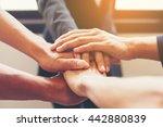 concept of teamwork  close up... | Shutterstock . vector #442880839