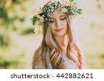 beautiful young woman with... | Shutterstock . vector #442882621