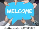 group of people holding with... | Shutterstock . vector #442883377