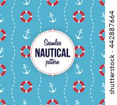 seamless nautical pattern with... | Shutterstock .eps vector #442887664