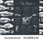 vintage fish restaurant menu or ... | Shutterstock .eps vector #442888144