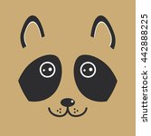 funny raccon face on brown... | Shutterstock .eps vector #442888225