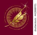 vector emblem golden pen... | Shutterstock .eps vector #442888951