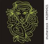 beautiful abstract girl. vector ... | Shutterstock .eps vector #442890421