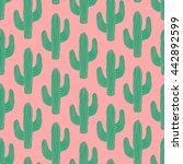 seamless pattern with cactus in ... | Shutterstock .eps vector #442892599