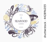 vector seafood card or flyer... | Shutterstock .eps vector #442896355
