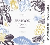 vector seafood card or flyer... | Shutterstock .eps vector #442896361