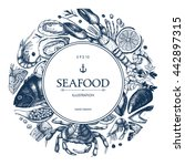 vector seafood card or flyer... | Shutterstock .eps vector #442897315