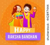 cute brother showing his rakhi... | Shutterstock .eps vector #442897444