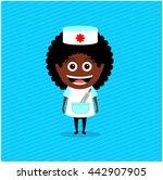 doctor  nurse  african american.... | Shutterstock .eps vector #442907905