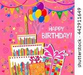 birthday card. celebration pink ... | Shutterstock . vector #442911649