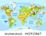 cartoon world map with a lot of ... | Shutterstock .eps vector #442915867
