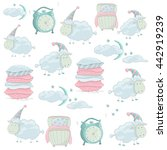 cute baby pattern with sleep...   Shutterstock .eps vector #442919239