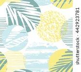 trendy seamless exotic pattern... | Shutterstock .eps vector #442923781