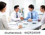 business people shaking hands... | Shutterstock . vector #442924549
