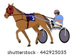 trotter in harness illustration ... | Shutterstock .eps vector #442925035