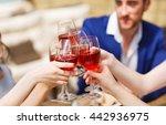 friends drinking wine on the... | Shutterstock . vector #442936975