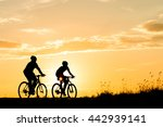 silhouette of cyclist in motion ... | Shutterstock . vector #442939141