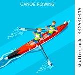 canoe sprint rowing coxless... | Shutterstock .eps vector #442940419