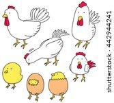vector set of chicken and egg | Shutterstock .eps vector #442944241
