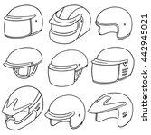 vector set of motorcycle helmet | Shutterstock .eps vector #442945021