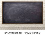 blank blackboard in brick wall... | Shutterstock . vector #442945459
