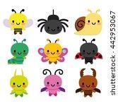 Vector Set Of Cartoon Cute Bugs Isolated