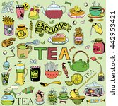 hand drawn tea collection. | Shutterstock .eps vector #442953421