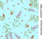 seamless floral pattern with... | Shutterstock . vector #442957381