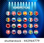europe circle flag with light... | Shutterstock .eps vector #442964779