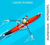 canoe rowing single sportsman... | Shutterstock .eps vector #442966591