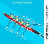 canoe rowing quadruple sculls... | Shutterstock .eps vector #442966594